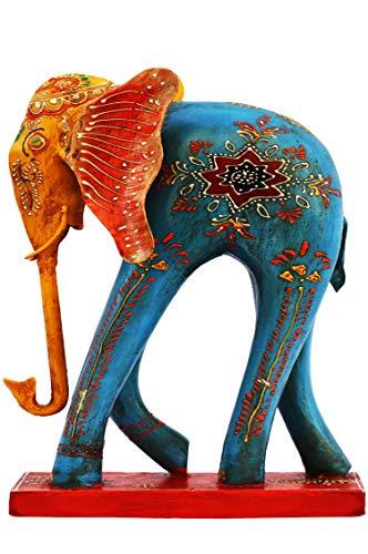 Garten Deko Figuren Elefant Bunt 36cm groß aus Metall | XL Vintage Dekofiguren als Gartendeko | Dekofigur als Tischdeko auf dem gedeckten Tisch | Tierfiguren als Kunstfiguren im Balkon oder Terrasse