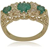 High Quality Emerald & Cubic Zirconia CZ Solid 9ct Yellow Gold Ladies Ring - Finger Sizes J to Z Available