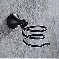 HSBAIS Baños de Acero Inoxidable Soportes para secador de Pelo Inodoro Europeo Estante de conducto Negro