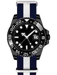 PARNIS 2034GMT OTAN de 06GMT Automático Reloj de hombre, carcasa de acero inoxidable PVD 40mm de diámetro negro cerámica Bisel Cristal de zafiro correa de reloj automático de fecha 5bar impermeable