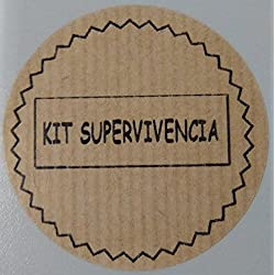 100 Etiquetas adhesivas color kraft KIT DE SUPERVIVENCIA