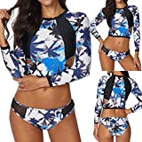 QingJiu Damen Set Sonnencreme Surfanzug Push-Up Gepolsterter, Wasserdichter BH-Badeanzug (Small, Blau)