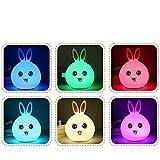 Lampada da tavolo da lettura,Lampada di silicone di induzione LED colorato coniglio carino creativo alimentazione del bambino ricarica USB atmosfera telecomando