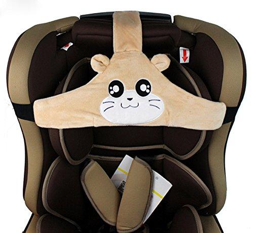 MINGZE Support de tête de siège de voiture d'enfant de bébé, coffre-fort de voiture et positionneur de sommeil confortable, ceinture de fixation réglable de Seat de sécurité (Brown)