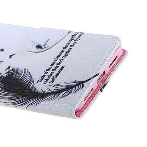 Cozy Hut Schutzhülle / Cover / Hülle / Handyhülle / Etui für Huawei Honor 5X Bunt Muster Design Folio PU Leder Tasche Case Cover im Bookstyle mit Standfunktion Kredit Kartenfächer mit Weich TPU Innere Schwarze Federn