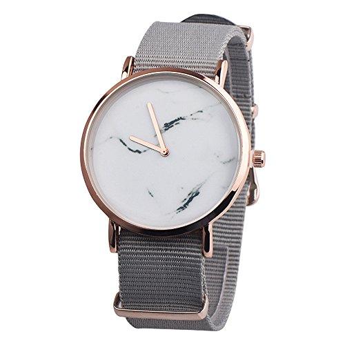 Yuwegr Einfach Damenuhr Mode Elegant Uhr Leinwand Band Legierung Uhren Quarz Analog Quarz Armbanduhr (Grau) -