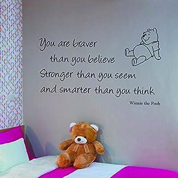 Vu0026C Designs Ltd (TM) Winnie The Pooh You Are Braver Childrenu0027s Bedroom Kids  Room Playroom Nursery Wall Sticker Wall Art Vinyl Wall Decal Wall Mural ...