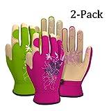 Vgo Glove Gants de Jardin, Femme, Gants de Jardinage esthétiques pour Dames, en Cuir synthétique de haute Respirabilité (Violet et Vert 7/S & 8/M & 9/L)