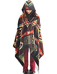 'Zicac Mesdames Boho glands Cape à capuche en tricot Motif géométrique Cape Pashmina écharpe enveloppe avec bouton à bascule fermé