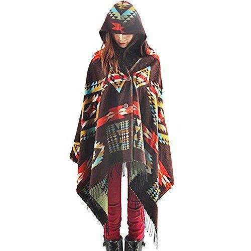 Zicac de Boho para mujer borlas capa patrón geométrico con capucha K