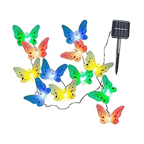 Baoblaze 3,5m Solarlichtkette mit 12 LED Schmetterling Lampe für Innen Garten Hochzeit Party Weihnachten Geburtstag