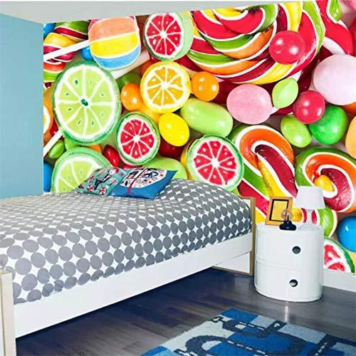 apeten 3D Fototapeten Bunte Lutscher Süßigkeiten Kinderzimmer Hintergrundbild 3D Wandbilder 350(L) x245(H) cm ()