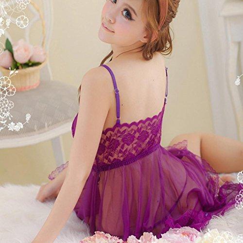 Odejoy Frau Spitze Bogen Unterwäsche Versuchung Puppe Racy Nachtwäsche Kleid Lila