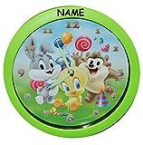 Unbekannt Uhr Baby Looney Tunes incl. Namen - 29 cm groß Wanduhr - für Kinderzimmer Kinderuhr - Analog Jungen Mädchen Kinder Tweety Taz Bugs Bunny