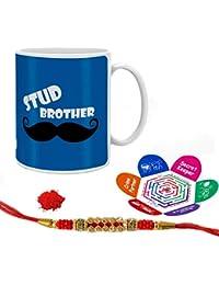 Indigifts Stud Brother Quote Printed Mug 330 Ml, Crystal Rakhi , Roli, Chawal & Greeting Card For Boys/Men