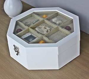 Boîte à couture en bois blanc nähkiste rond boîte à bijoux avec couvercle en verre