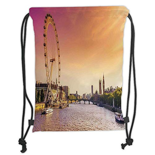 g Backpacks Bags,London,Sunset View Bridge on Thames River Ferris Wheel London Eye Big Ben Westminster,Peach and Pink Soft Satin,5 Liter Capacity,Adjustable String Closure ()