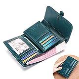LWYJ Donne Vera Pelle Portafoglio Frizione Borsa a Mano 10-Bit Titolare della Carta Vacchetta Tempo Libero Olio Cera in Pelle Portafoglio Zip Coin Pocket Bag