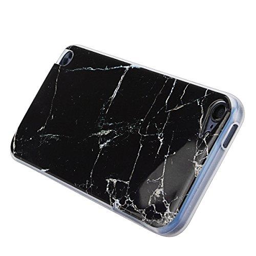 Custodia per Apple iPhone 7 Plus (5.5 pollici), HB-Int 3 in 1 Premium Marmo Modello Morbido TPU Silicone Case Gomma Flessibile Sottile Fina Protettiva Bumper Shock-Absorption Anti-Graffio Cover + Penn Nero