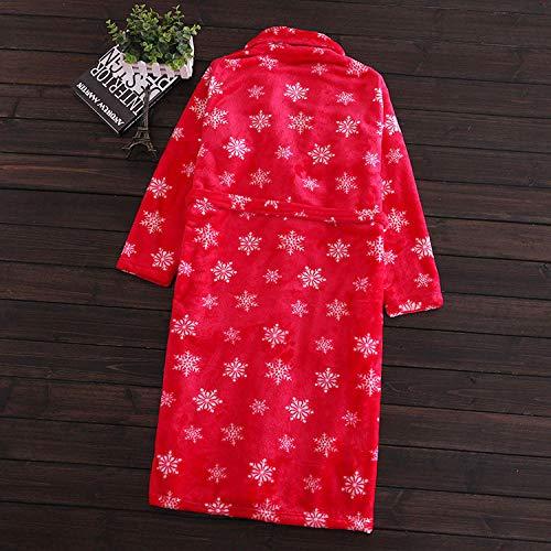 Home + Bathrobe Nachthemd Coral Fleece Silky Damen Bademantel Pyjama Coral Fleece Flanell Herbst Und Winter Langer Bademantel @ Red Snowflake_12-14 (L) -