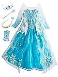FStory&Winyee Mädchen Prinzessin ELSA Kostüm Schneeflocke Kinder Kleid Langarm Blau Karneval Verkleidung Party Halloween Fest Weihnachten