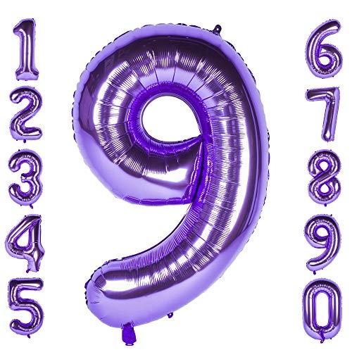 Changzhong 40-Zoll 0-9 in Lila Nummer Foil Ballons Helium Zahlenballon Luftballon Riesenzahl Party Hochzeit Kindergeburtstag Geburtstag (Number 9) - Lila 9