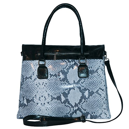 BORDERLINE - 100% Made in Italy - Borsa da Donna in Vera Pelle - ELENA Ghiaccio