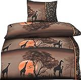 müskaan Biancheria da letto in microfibra, 2pezzi, con chiusura lampo, Öko-Tex 100, Microfibra, Safari, 135x200cm + 80x80cm