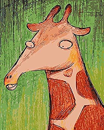 ttymei Malen von Zahlen Set DIY Malen von Zahlen - Red Deer Giraffe Rentier Hörner Buck Deer Moose - Leinwand Gemälde 40x50cm with Frame -