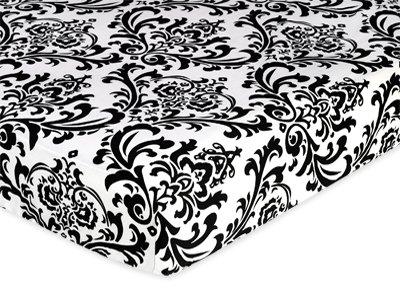 Noir et blanc Isabella Drap de lit de berceau Parure de lit pour bébé/enfant – Damas d'impression