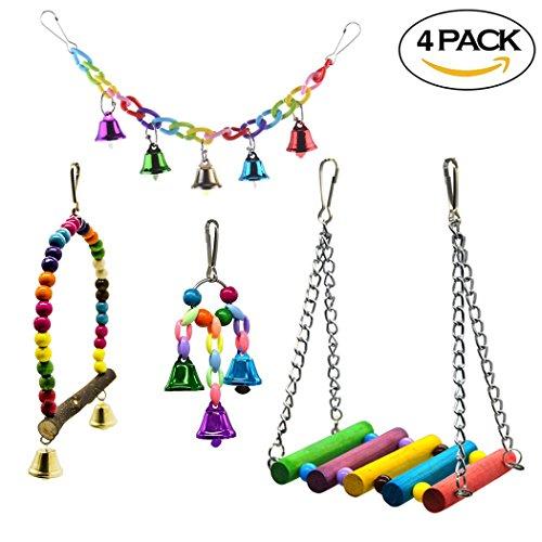Hatisan-pro 4 pezzi uccello toys cage accessori scaletta giocattoli di altalena per uccelli domestici legno altalena, perline di legno colorate campane e pappagallo amaca in legno appollaiato