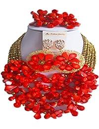 laanc Nigerianisches Perlen African-Hochzeit beliebtes Saison Damen Koralle mit Kristall Brautschmuck Sets