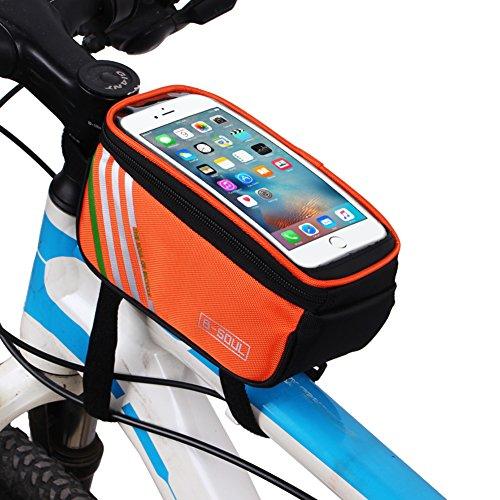 Demiawaking Fahrradtasche Rahmentaschen, Wasserdichte Fahrradrahmentasche & Handyhalterung Orange