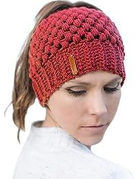 JDYW Beanie Sombrero de Cola de Caballo Sombreros de Punto para Mujeres  Gorro de béisbol Sucio Sombrero de Mujer de Invierno Sombrero… fc1fff91b7f