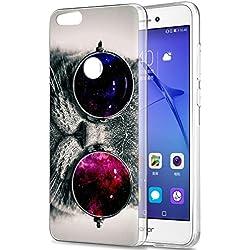 Eouine Funda Huawei P8 Lite 2017, Cárcasa Silicona 3D Transparente con Dibujos Diseño Suave Gel TPU [Antigolpes] de Protector Bumper Case Cover Fundas para Movil Huawei P8Lite 2017 (Gato)