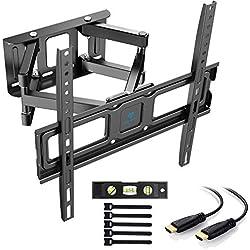 """Staffa per TV con movimento girevole ed estendibile -Supporto per montaggio a parete per TV da 32-55"""" -Staffa ultra resistente 45kg, Max. VESA 400x400mm, con Cavo HDMI e livella a bolla"""