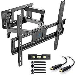 PERLESMITH TV Wandhalterung, Schwenkbare Neigbare TV Halterung für 32-55 Zoll Flach & Curved Fernseher oder Monitor bis zu 45kg, max.VESA 400x400mm (400x400mm | Doppelter Arm, schwarz)