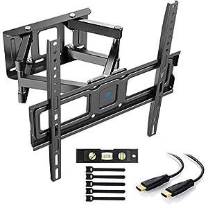 PERLESMITH TV Wandhalterung, Schwenkbare Neigbare TV Halterung für 32-55 Zoll Flach & Curved Fernseher oder Monitor bis…