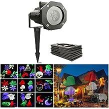 ALED LIGHT LED Décorations Lumières Projector Lumière étanche IP65 de 10 Dessins Interchangeables, 6W Lampe d'Ambiance Disco Pour Noël/Party/Anniversaire/Fête nationale/Carnaval/Pâques/Jardin/Mariage/Toussaint/Halloween (Multicouleur)