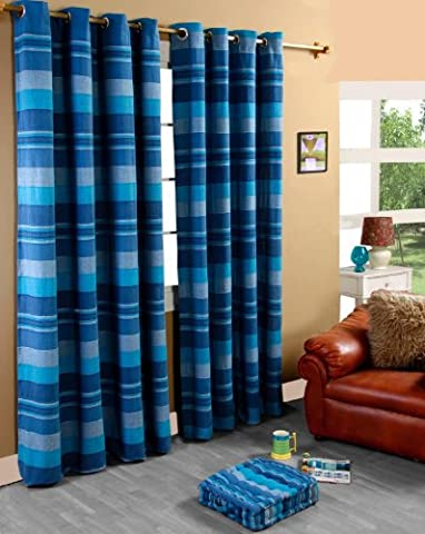 Homescapes handgewobener Vorhang Morocco im 2er Set Ösenvorhang 167 x 182 cm (Breite x Länge) Dekoschal in Streifen-Optik aus 100% reiner Baumwolle in
