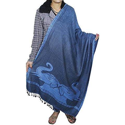 Donne di modo sciarpa blu caldo inverno - indiano elefante modello scialle misto seta lunga stola - 214 x 76 cm