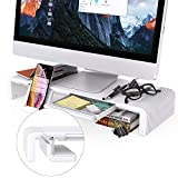 Foldable Monitor Stand, Klearlook Width Adjustable Desktop Monitor Screen Riser Built in Storage Drawer Tablet&Phone Stand Holder, Anti-Slip Monitor Mount for iMac, Computers, Printer, Laptops and TVs