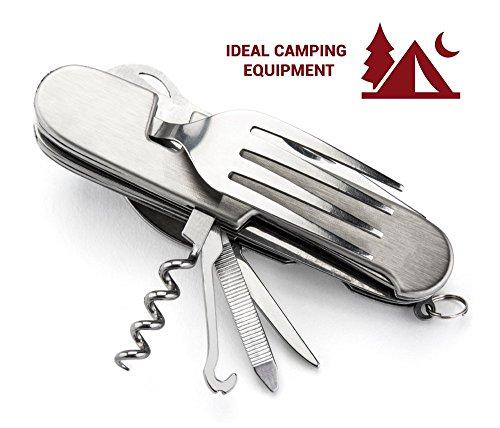 OPUL Navaja Suiza Juego de Cubiertos Camping - 12 Funciones, Navaja, Tenedor, Cuchara para Vajilla Camping - Navaja con… 4