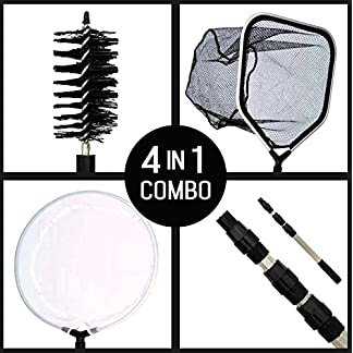 Supa 4 in 1 Pond Care Cleaning Kit Including Telescopic Pole, Skimmer Net, Catch/Landing Net & Cleaning Brush 10