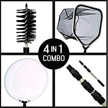 Supa 4 in 1 Pond Care Cleaning Kit Including Telescopic Pole, Skimmer Net, Catch/Landing Net & Cleaning Brush 1