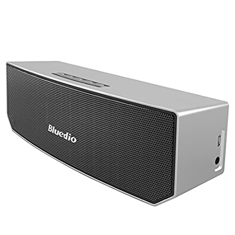 Bluedio BS-3 (Camel) Portable Bluetooth Speakers Revolution 3D Neodymium Magnets/52mm Ultra-big Drive Units/Rich Bass Wireless Soundbar/Excellent 3D Surround System Retail-Gift Packgage (Silver)