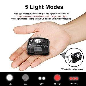 Supfire Linterna Frontal LED 500 Lúmenes LED CREE Lámpara de Cabeza con Luz Roja y Interruptor de Temperatura Inducción,Recargable con Cable USB Directamente,5 Modos para Camping Ciclismo,Modelo HL06