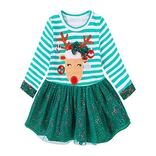 Weihnachtskleid Sonnena Christmas Mädchen Kleidung Dress Baby Kinder Partykleider Kleinkind Kindermädchen Hirsch Gestreifte Prinzessin Kleid Weihnachten Outfits (Grün, Baby 130)