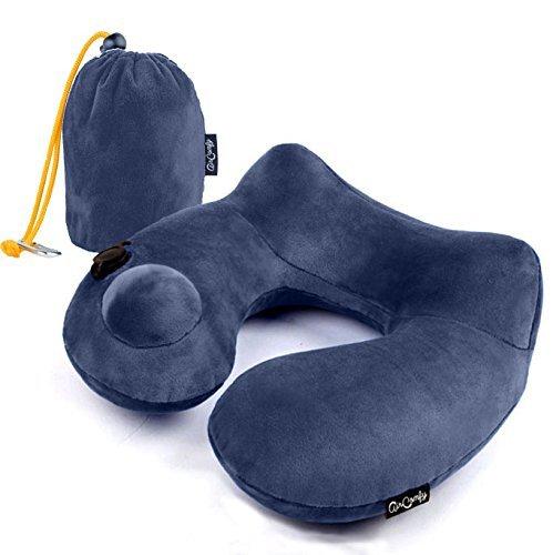 Almohada de Viaje con Mascara Antifaz para Dormir Y Bolso de Transporte, Para Coche, Avión, Viajes, Cojín Almohada para Viaje Hinchable / Inflable – Azul