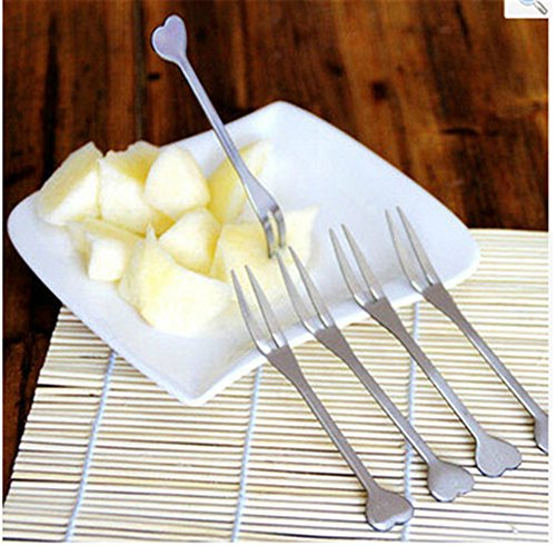 Interesting® 5 Pcs / Lot Stainless Steel Fruit Forks Set for Cake Salad Cocktail Dessert Fork With Heart Shape